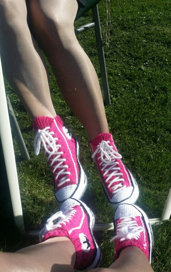 Knitting Pattern For Converse Socks : Converse Reaverse slippers tennis DIY knitting crochet socks