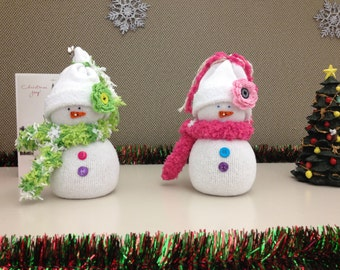 Sock Snowman with Scarf and Hat