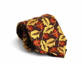 mens necktie -  vintage leaf necktie - brown and gold leaf print tie