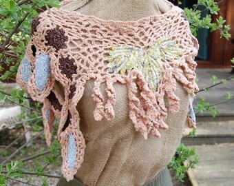 Crochet freeform wearable art cowl