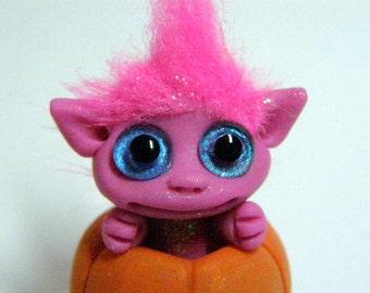 "OOAK Pink Halloween Trollfling Troll in a pumpkin ""Charmy"" by Amber Matthies"
