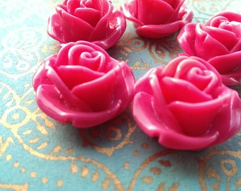 5 Large Pink Rose Cabochons 25mm
