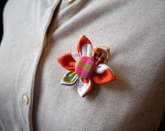 Orange Fabric Flower Brooch, Flower Pin - Handmade Fabric Flower