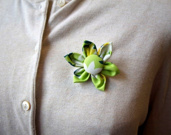 Green Floral Fabric Flower Brooch, Flower Pin - Handmade Fabric Flower