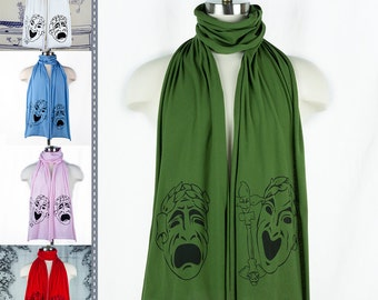 Comedy Tragedy Theatre Masks Screen printed Cotton Scarf