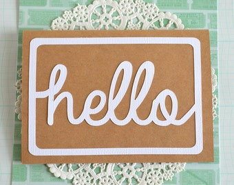 Hello Card - Everyday Greeting Cards - Hello Typographic Papercut Card - Handlettering - Modern Greeting Card