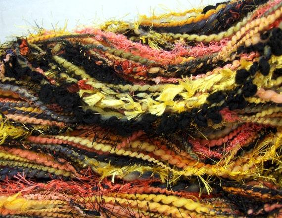 HandSpun Art Yarn bulky merino wool Coral Snake II 90 yards