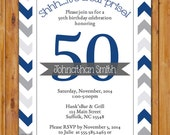 Masculine Birthday Party Invitation Navy Grey Chevron 50th 30th 60th Men's Surprise Adult Any Age Printable 5x7 Digital JPG File (335)