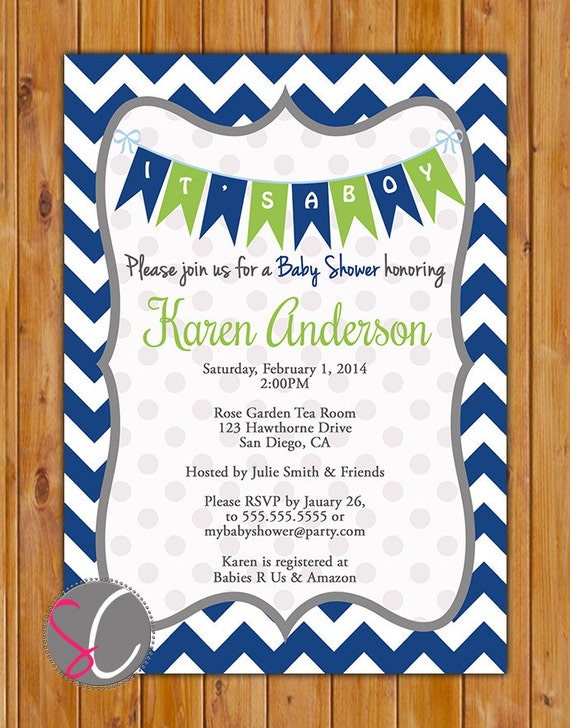 Navy blue lime green baby shower invitation navy chevron pennant