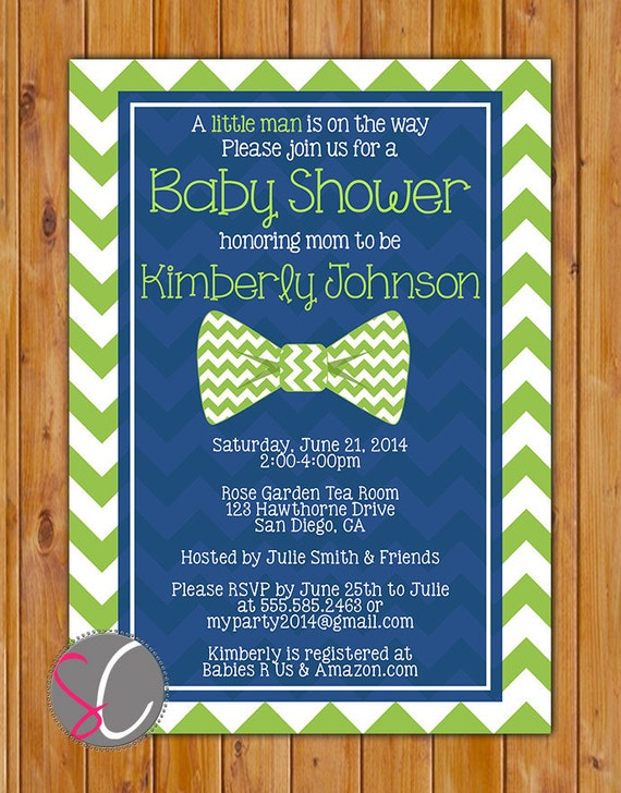 Green little man bow tie baby shower invitation lime green navy blue