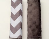 Gender Neutral Car Seat Strap Covers - Gray Chevron and Gray Minky Dot