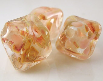 Honey Pie -  Chunky Crystals Trio Handmade Artisan Lampwork Glass Beads 18mm and 14mm - Gold, Pink - SRA (Set of 3 Beads)