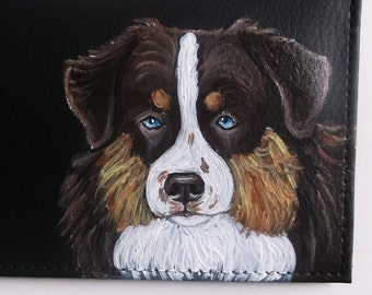 Brown and Tan Australian Shepherd Dog Custom Painted Black Leather Men's Wallet
