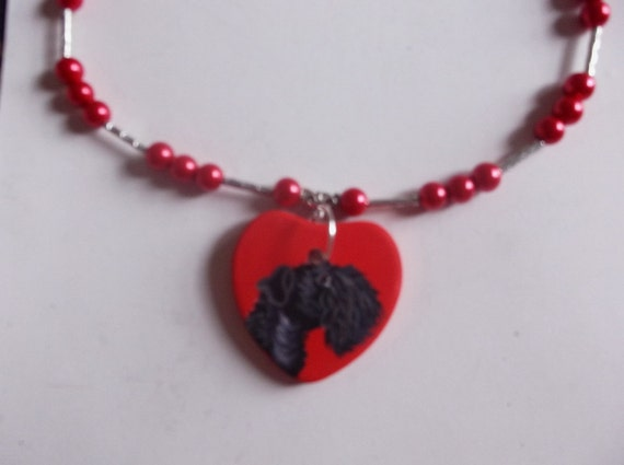 Kerry Blue Terrier Dog Bead Necklace hand Painted Ceramic Pendant
