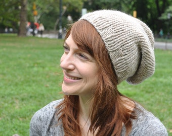 Natural Colored Knit Hat - Wool Ribbed Knit Slouchy Hat - Totally Unisex Hat