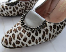 60s Leopard Henry Waters Shoes of Consequence Calf Hair - Vintage Stiletto High Heel Heels - Leopard Calf Hair - Pinup Pumps Shoes  7N