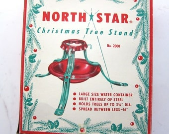 Vintage 60s North Star Christmas Tree Stand - New in Box - Mid Century NOS 1960s Holiday Decor - Christmas in July