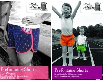 Prefontaine Shorts Bundle: Best Women and Kids retro shorts sewing patterns PDF
