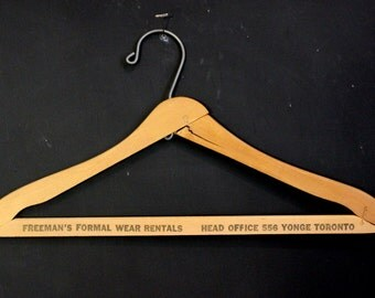 Freeman's Formal Wear Rentals Toronto, Ontario Wooden Shipping Hanger, Vintage Collection