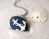 Anchor Necklace - ivory anchor - navy background - anchor brooch- cameo - Anchor Jewelry - Nautical Fashion