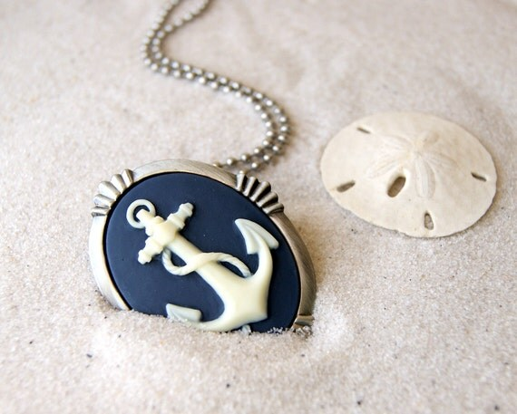 Anchor Necklace - Anchor Cameo Necklace - Anchor Cameo Brooch Nautical Fashion Beach Wedding - Bridesmaids Gift  choose color at checkout