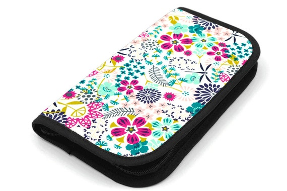 Travel Zip Around Knitting Needle Case - Way of Flowers - black pocket organizer with clear zipper pouch