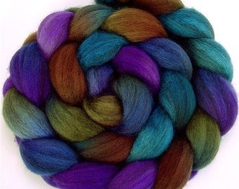 Handpainted Heathered BFL Wool Roving - 4 oz. CALYPSO - Spinning Fiber