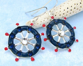 Nautical Ships Wheel Earrings with Sparkling Crystals