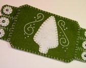 Handmade Penny Rug,Green and white Christmas Tree, Mug Rug Winter Decor, coaster