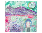 blue hair girl, feather, dream catcher, sun, color between the mountains - reproduction print of mixed media painting