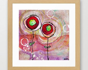 mauve flowers, purple, red, puce, plum, green, print of mixed-media painting and collage