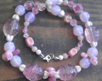 New-Vintage Pink Bead Collage Necklace- German Glass, Milk Glass, and More with Modern Sterling Silver Clasp