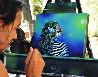 RW2 Zebra Girl embellished Canvas print by Robert Walker painting VERY Limited Edition