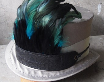 Green and Black Feather and Black Leather Fire Bird Hat Band