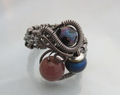 Mood Ring Wire Wrapped with Agate and Glass beads