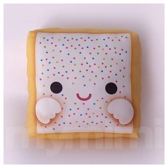 "Food Pillow, Decorative Pillow, Breakfast, Poptart, Poptart Pillow, Rainbow Sprinkles, Toaster Pastry, Pop Tart, Kawaii Food Pillow, 7 x 7"""