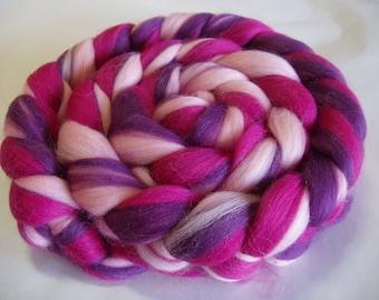 Merino wool roving, spinning fiber, 21 micron, wet/needle/nuno felting fiber, wool dreads, dolls hair, pink, rainbow, purple100g/3.5oz