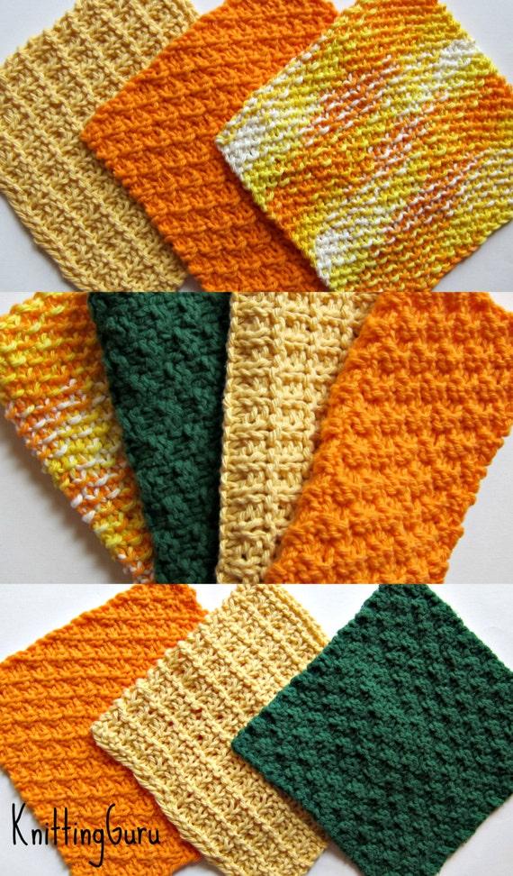 Knitted Dishcloth Pattern Books : 6 Knit Dishcloth Patterns Tutorials E-book PDF Fast Easy
