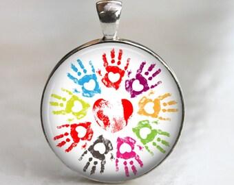 Loving Hands - Glass Pendant in Silver Bezel 30mm