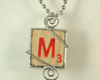 Red Letter M Scrabble Pendant Necklace