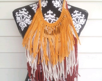 Hand Crocheted Bohemian Statement Necklace
