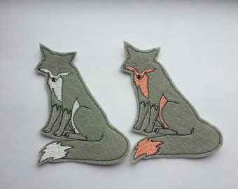 Iron On Patch Pair of Gray  Foxes Appliques