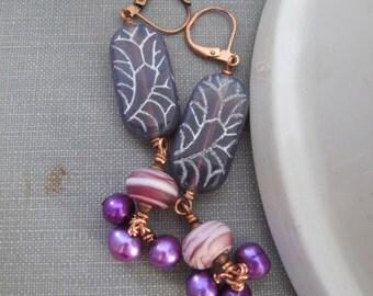 Pearl Earrings, Glass Earrings, Copper Earrings, Purple Glass, Copper Jewelry, Purple Pearls, Freshwater Pearls, Pink Glass