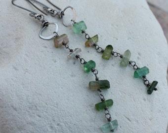 Watermelon TOURMALINE earrings, Raw Tourmaline crystal earrings, sterling silver, long
