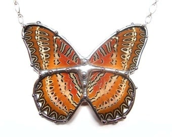 Autumn Colors Butterfly Necklace - Real Butterfly Wing Jewelry - Nature Art