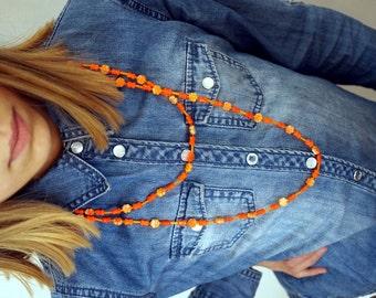 Vintage 70s Orange Beaded Necklace Long Flower Power Glass Beads 1970s Hippie Flower Power Boho Bohemian Czech Glass Beads