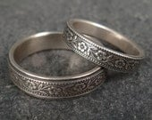 Wedding Band Set - Floral Wedding Rings in Sterling Silver