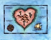 "Heart's Treasure Map / 5"" x 7"" Original Watercolor Painting / Heart Map / Valentine's Art / Love Art / Heart Art / Valentine's Gift"