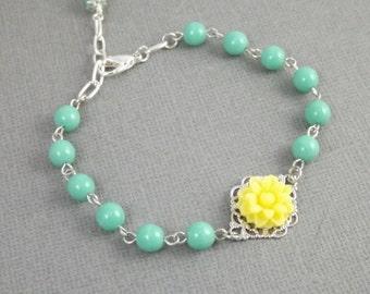 Aqua and Yellow Flower Silver Filigree Bridesmaids Bracelet