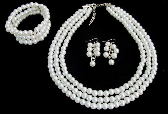 Christmas Gift Mother Gift Bridesmaid White Pearl Necklace Earrings Bracelet Bridal Jewelry Free Shipping In USA